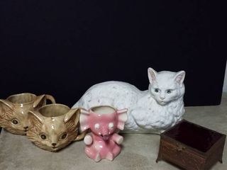 2 kitty cat mugs  white cat with a crack  elephant planter and a trinket box