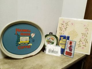 Advertising coffee tray  plate  napkin  coffee box and postcard   plate stand not included