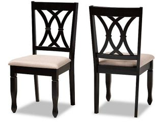 2pc Reneau Upholstered Wood Dining Chair Set Sand Brown Espresso   Baxton Studio