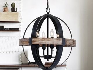 Farmhouse Weathered Oak Wooden 4 light Orb Chandelier Retail 206 99