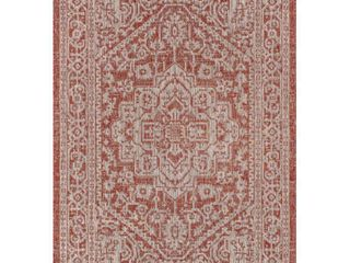 Red Taupe 3 X 5 Sinjuri Medallion Textured Weave Indoor Outdoor Area Rug