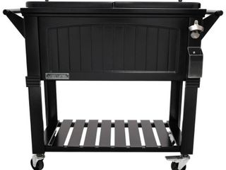 Permasteel 80 qt  Rolling Patio Cooler Black Furniture Style