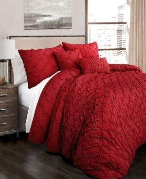 Ravello Pintuck Comforter Red 5Pc Set Full Queen