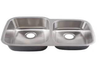 Yosemite Home Decor MAG503R 18 Gauge Stainless Steel Undermount Double Bowl Sink  32 1 8 by 20 5 8 by 7 Inch  9 Inch Right  Satin