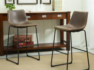Carbon loft Inyo PU leather Vintage Barstools  Set of 2  Retail 165 49