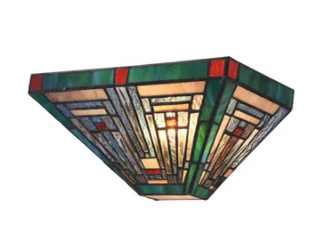 Gracewood Hollow Kamatenda 1 light Mission style Stained Glass Wall Sconce  Retail 76 98