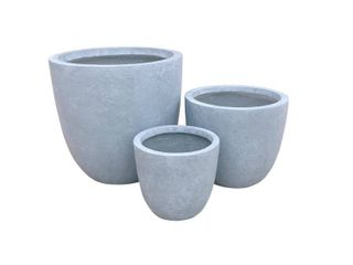 Kante lightweight Concrete Modern Seamless Outdoor Round Planter  Set of 3  17 Inch Tall  Slate Gray Retail 144 99