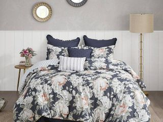 King   Madison Park Kalina Dark Blue 8 Piece Cotton Printed Reversible Comforter Set   Retail 159 97