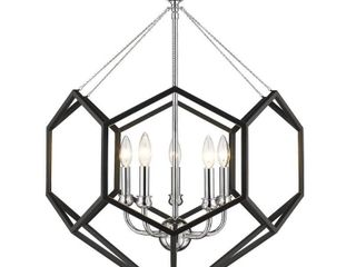 Damina 5 light Chandelier in Chrome and Black
