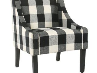HomePop Modern Swoop Accent Chair   Black Plaid Retail 218 99