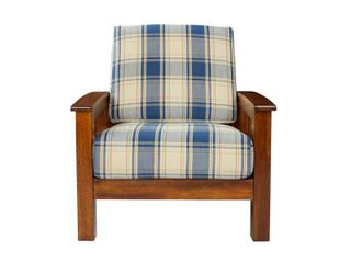 Handy living Omaha Mission Style Arm Chair with Exposed Wood Frame in Blue Plaid  Cherry Frame with Blue plaid fabric