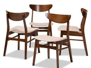 Set of 4 Parlin Dining Chair light Beige Walnut   Baxton Studio