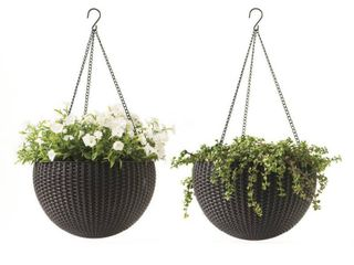 Keter Hanging Rattan Resin Planter Set of 2  Anthracite