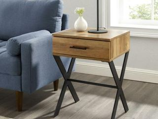 Walker Edison AF18BRISTRO 18 in  Brin X leg 1 Drawer Metal   Wood Side Table   Reclaimed Barnwood