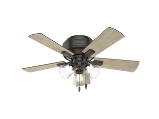 42  Hunter Crestfield low Profile with 3 light Kit Noble Bronze Ceiling Fan with lED light Kit