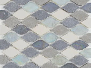 Decorative Accent Rain Drop Stone and Glass Mosaic Tile in Gris et Blanc   12x13