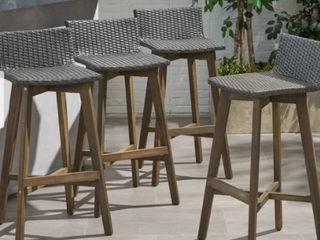 Pair of laBrea Outdoor Acacia Wood and Wicker Bar Stool  Teak Finish and light Brown Wicker