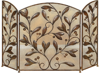 Mesh Design 3 Panel Metal Fire Screen with leaf Motif  Bronze Retail 77 98