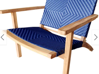 Chic Teak Barcelona Teak Wood Patio lounge Chair   Blue