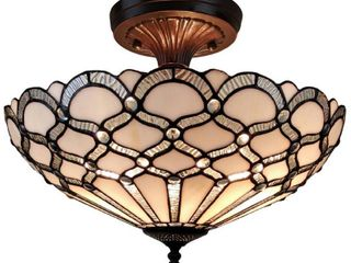 White Tiffany Style Ceiling Fixture lamp Jeweled 17 Wide Stained Glass White Bedroom Hallway Gift AM108Cl17B Amora lighting Retail  145 99