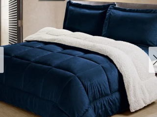 Navy Twin Copper Grove Pontica Faux Suede 3 piece Comforter Set