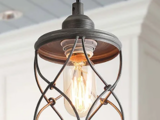 Industrial 1 light Metal Cage Shade Mini Wire Pendant lighting D 5 H 7 9