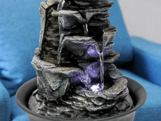 Indoor Stacked Water Fountain Rockery Waterfall Feature w lED light