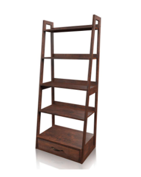 5 layer ladder Bookcase with 1 Drawer   Brown Cherry