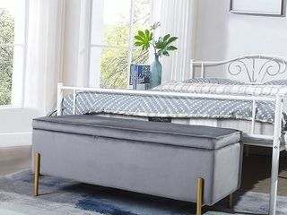 FurnitureR TUDOR Middlewich Upholstered Flip Top Storage Bench Grey