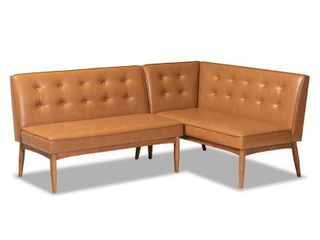 Baxton Studio Arvid Tan and walnut brown Dining Sofa Bench Set
