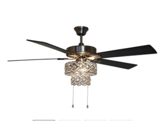Olivia 52  Beaded Wedding Band 5 blade lED Ceiling Fan   52 l x 52 W x 18 25 H Retail 231 22