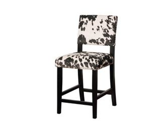 Corey Black Cow Print Counter Height Barstool Black White   linon