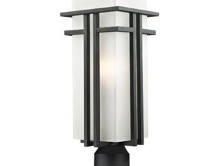 Z lite 549PHB BK R Outdoor Post light with Matte Opal shade  Aluminum Frame