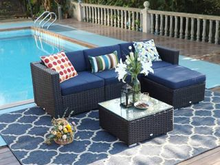 4pc Outdoor Wicker Rattan Furniture Set   Captiva Designs  NO Ottoman