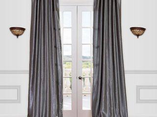 Drapes Vintage Textured Faux Dupioni Rod Pocket Curtain Panels   Set of 2