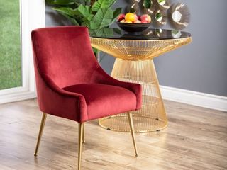 Burgundy Abbyson Bevie Velvet Dining Chair Retail 289 95  SEE PHOTOS