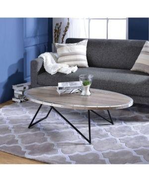 Acme Furniture Allis Dark Oak   Metal Oval Coffee Table