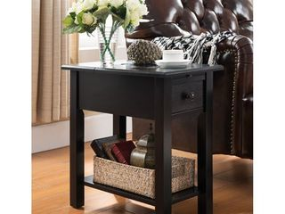 Copper Grove Ballingall Wooden Side Table w  Charging Station