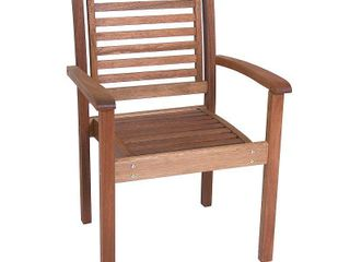 Amazonia Milano Stackable Chair Eucalyptus Wood Ideal for Outdoors and Indoors