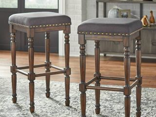 Set of 2 30in Grafton Turned leg Barstools Charcoal Gray   lifestorey