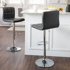 Porch   Den Galena Chrome   Faux leather Adjustable Barstools   Set of 2