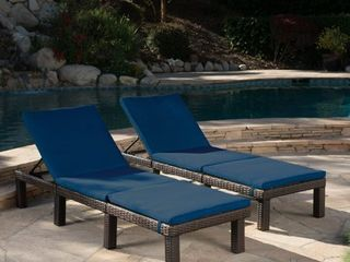 Jamaica Outdoor Water Resistant Chaise lounge Cushion  Set of 2  by Christopher Knight Home Retail 158 99