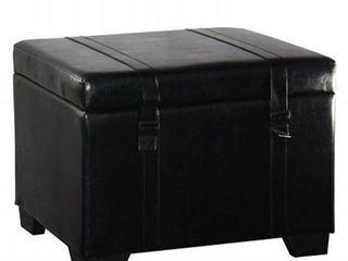 leatherette Velcro Closure Storage Ottoman