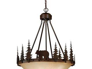 Bozeman 4 light Bronze Rustic Bear Tree Bowl Pendant