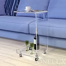 C Shape Acrylic Rolling Accent Table