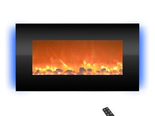 Electric Indoor Fireplace Wall Mounted with 13 Backlight Colors  Adjustable Heat and Remote  31in by Northwest