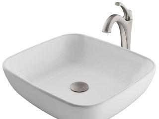 Kraus Rectangle Ceramic Vessel Sink Arlo Faucet Drain
