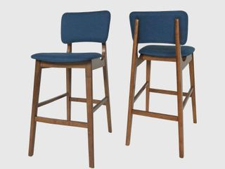 Fessenden Wooden Bar Chair w  Fabric Seats by Christopher Knight Home   Set of 2
