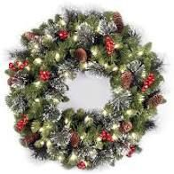 Glittery Mountain Spruce Wreath w  White Edged Cones  Red Berries   lights