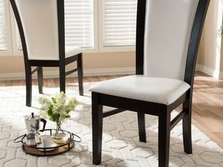 Contemporary White Faux leather Dining Chairs by Baxton Studio   Set of 2